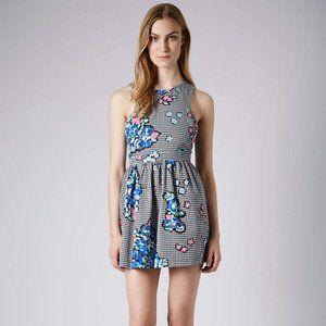 NWOT Topshop houndstooth floral mini dress